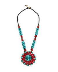 Aeravida | Blue Blossoming Beauty Coral And Turquoise Stone Floral Necklace | Lyst