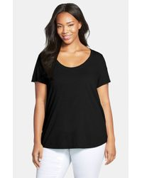 Eileen Fisher | Black Slub Organic Cotton Jersey Tee | Lyst
