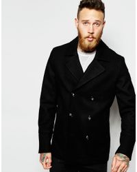ASOS | Wool Peacoat In Black for Men | Lyst