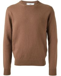 AMI - Brown Crew Neck Sweater for Men - Lyst