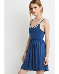 Forever 21 | Blue Crisscross Cami Babydoll Dress You've Been Added To The Waitlist | Lyst