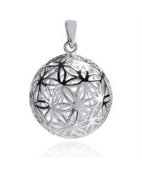 Aeravida | Metallic Flower Of Life Kabbalah 3d Ball Sterling Silver Pendant | Lyst