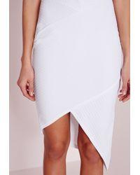 Missguided - High Neck Asymmetric Hem Bodycon Dress White - Lyst