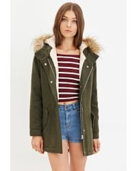 Forever 21 | Green Plush Faux Fur Hood Coat | Lyst