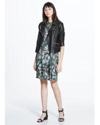 Mango - Green Pleat Printed Dress - Lyst