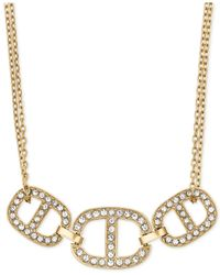Michael Kors - Metallic Clear Stone Maritime Frontal Necklace - Lyst