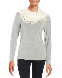 Lord & Taylor | White Fringe-trimmed Infinity Scarf | Lyst