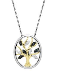 Lord & Taylor - Metallic Sterling Silver 14kt. Yellow Gold And Green Diamond Pendant Necklace - Lyst