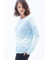 Forever 21 - Blue Tribal Print Knit Top - Lyst