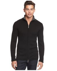 DKNY - Black Dkny Contrast Zip Sweater for Men - Lyst