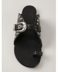 Giuseppe Zanotti - Black Toe Strap Sandals - Lyst