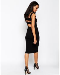 ASOS - Black Strap Back Pini Bodycon Midi Dress - Lyst