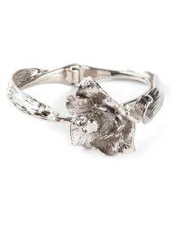 Alexander McQueen - Metallic Floral Skull Bracelet - Lyst