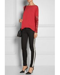 Maje   Red Ecureuil Leather-Trimmed Fine-Knit Wool And Silk-Blend Sweater   Lyst