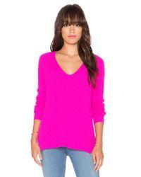 Autumn Cashmere Pink Shaker Stitch V Neck Sweater