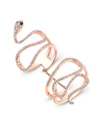 Anne Sisteron | Pink 14kt Rose Gold Diamond Blue Sapphire Snake Connector Ring | Lyst