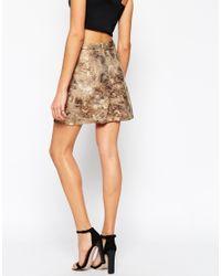 AX Paris - Metallic A Line Mini Skirt - Lyst