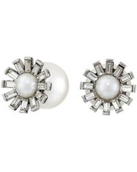 Betsey Johnson | Metallic Something New Flower Pearl Stud Earrings | Lyst