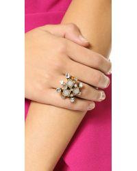 Oscar de la Renta - Metallic Resin Flower Ring - Ivory - Lyst