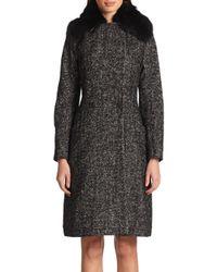 Etro - Black Shearling Trimmed Tweed Wrap Coat - Lyst