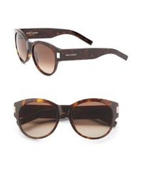 Saint Laurent | Brown 54mm Round Sunglasses | Lyst