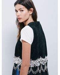 Free People | Understated Leather Womens Black Suede Vest | Lyst