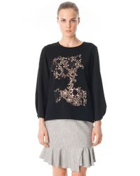 Tibi - White Crochet Embroidered 3/4 Sleeve Top - Lyst