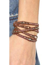 Chan Luu - Beaded Wrap Bracelet - Rose Gold/natural Brown - Lyst