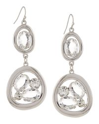 R.j. Graziano | Metallic Open Crystal Double-drop Earrings | Lyst