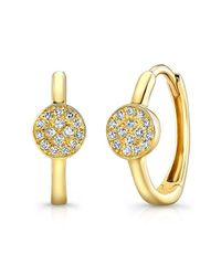Anne Sisteron | Metallic 14kt Yellow Gold Diamond St. Tropez Mini Hoop Disc Earrings | Lyst