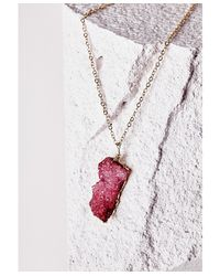 Missguided | Purple Semi-precious Stone Pendant Necklace Deep Pink | Lyst