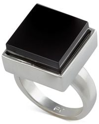 French Connection | Black Silver-Tone Large Square Stone Ring | Lyst