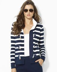 Ralph Lauren - Black Lauren Petites Stripe Toggle Cardigan - Lyst