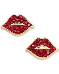 kate spade new york - Gold-tone Red Crystal Lip Stud Earrings - Lyst
