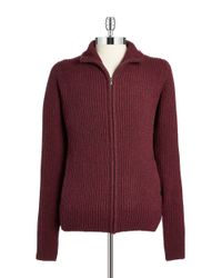Victorinox - Red Wool Zip Front Cardigan for Men - Lyst