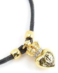 Juicy Couture | Black Duchess Crest Heart Cord Bracelet | Lyst