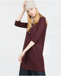 Zara | Purple Dress With Back Slit | Lyst
