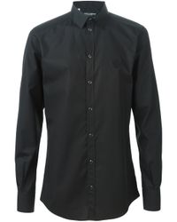 Dolce & Gabbana - Black Crown Embroidered Shirt for Men - Lyst