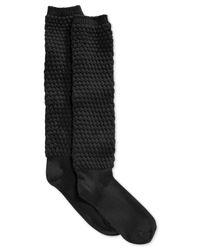 Hue | Black Women's Quilted Knee Socks | Lyst