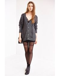 Urban Outfitters - Black Lacey Polka Dot Mix Tight - Lyst