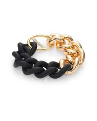 Elizabeth and James - Black Bauhaus Pavé White Topaz & Rubber Chain Bracelet - Lyst