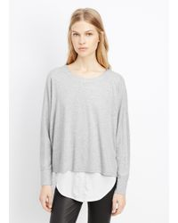 VINCE | Gray Mixed Media Double Layer Top | Lyst