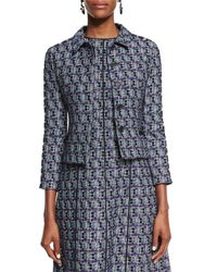Oscar de la Renta - Blue Multi-print Tweed Jacket - Lyst