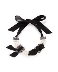 Lanvin - White Faux Pearl Grosgrain Ribbon Choker Necklace - Lyst