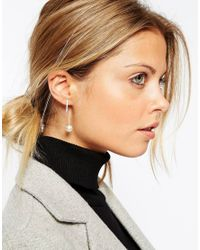 ASOS | Metallic Sterling Silver Faux Pearl And Bar Through Earrings | Lyst