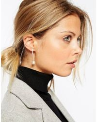 ASOS - Metallic Sterling Silver Faux Pearl And Bar Through Earrings - Lyst