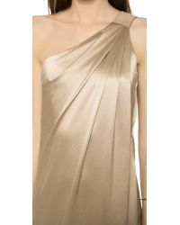 Kaufman Franco - Metallic One Shoulder Silk Gown Burlap - Lyst