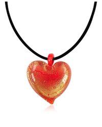 Antica Murrina - Passione - Red & Gold Murano Glass Heart Pendant - Lyst