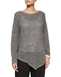 Eileen Fisher - Gray Melange Cotton Mesh Asymmetric Tunic - Lyst