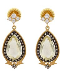Sara Weinstock | White Mixed Diamond & Lemon Topaz Deco Earrings | Lyst